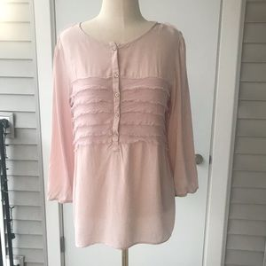 Gap Pink Ruffle Henley Blouse Top 5/$25